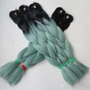 Kanekalon Jumbo Trenzado Cabello sintético 24 pulgadas 100G BlackMint / Dull Green Ombre Extensión de cabello de dos tonos