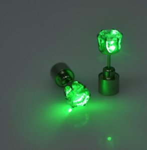 Luce del partito di Natale fino CZ Props regalo evento festivo di cristallo Orecchini Uomo Donna Bambini Discoteche LED luminoso Stud Flash orecchini di diamanti