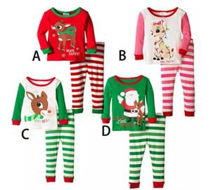 Son Noel Çocuk Pijama Takımı Erkekler Kızlar Pamuk Yeni Yıl pijamalar Uzun kollu İyi Kalite Çocuk Pijama Takım Elbise