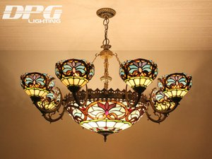 Tiffany chandelier Stained glass pendant lamps tiffany lights with 8 heads for home decoration bar coffee restaurant indoor lighting