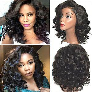 Parrucche piene del merletto dei capelli umani brasiliani corti ricci 130% di densità per le donne nere Colore Ponytail naturale 14 pollici