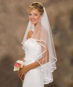 Ücretsiz Kargo 2018 Yeni Gelin Peçe Düğün Aksesuarları Beyaz Fildişi Şerit Kenar Düğün Için İki Katlı Tül