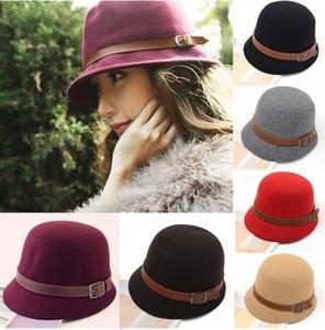 2015 Fashion Women Solid Beach Belt Buckle Bowler Fedora Hat Bowler Caps