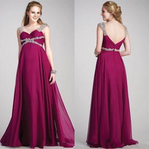 Prom Dress cristallo increspature perle lunghe Graceful cinghie floor-lunghezza abiti da sposa formale per le donne incinte di maternità abiti di sera