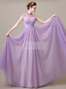 2016 Hot Sale Fashion New Arrival Charming Free Shipping A-line High Neck Pearls Court Train Purple Tulle Evening Dresses 1126