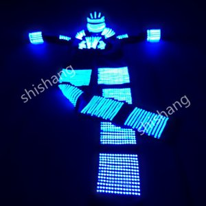 HH811 Colorido luz LED robot terno luminoso discotecas partido evento fornecimento dj trajes de dança de salão de discoteca roupa capacete