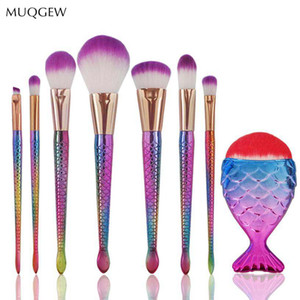 Muqgew Blush Make-up Pinsel Cilios Foundation Mermaid Brushes Eyeliner Mischpinsel Concealer Kit Pinceis # 0521