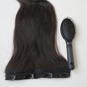 80g 20 22inch Clip brasileño en la extensión del pelo 100% humann hair # 1B / Off Remy negro Remy teje 1pcs / set peine libre