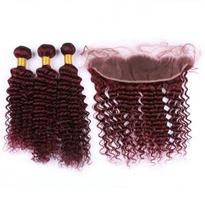 Deep Wave # 99J Borgoña Ear to Ear 13x4 Cierre frontal de encaje completo con tejido Wine Red 3Bundles Virgin Indian Hair con frontal de encaje