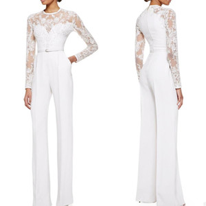 2019 White Elie Saab Mother Of The Bride Pant Suits Jumpsuit With Long Sleeves Lace Embellished Womens Formal Dresses Evening Wear