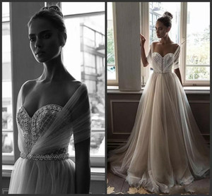 Elihav Sasson 크리스탈 비치 아랍 웨딩 드레스 아가 하트 진주 A 라인 Tulle Bridal Dresses 섹시한 웨딩 드레스
