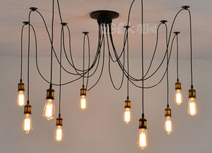 Retro clássico lustre10 E27 aranha de ouro pingente de lâmpada titular grupo Edison diy lâmpadas de iluminação lanternas acessórios mensageiro fio