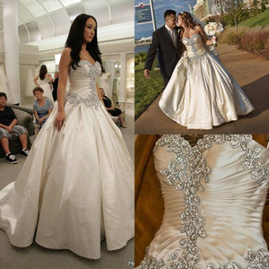 Elegante vestido de novia de cristal 2019 Sweetheart Strapless vestido de novia con encaje hasta volantes de color marfil vestidos de novia blanco Vestidos