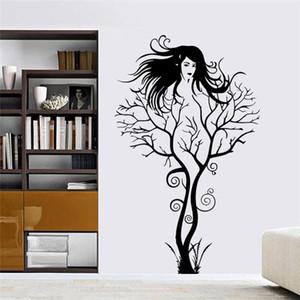 Seksi kız duvar çıkartmaları ofis oturma odası dekorasyon zooyoo8464 diy ağaç dalı vinil adesivo de paredes ev çıkartmaları mual sanat