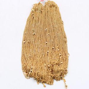 10 قطع الكثير بالجملة بالجملة المقاوم للصدأ الذهب رقيقة 2.3 ملليمتر 20 بوصة قوي شقة البيضاوي رولو سلسلة قلادة المرأة مجوهرات