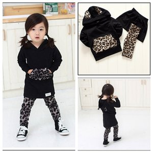 1-6Y Baby Winterart und weise Kleidung Leopard Hoodies + Leggings + Rock 3pcs Mädchenkarikaturanziehungskinderkinder stellten freies Verschiffen MOQ ein: 5sets SVS0443