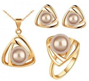 Роскошные ожерелье серьги кольца набор дамы старинные вечерние ожерелья и серьги наборы мода свадебные украшения онлайн G071