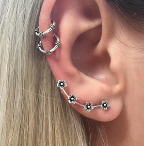 Newest Vintage Flower Constellation Ear Cuff Earrings Bohemia Ancient Tibetan Silver Buddha's Hand Stud earrings Hamsa Hands earring 3 PCS