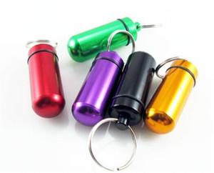 휴대용 여행 알루미늄 합금 방수 알 약 케이스 상자 KeyChain 의학 저장 약 컨테이너 주최자 병 홀더 허브 왁스 컨테이너
