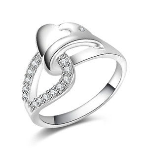 Free Shipping New 925 Sterling Silver fashion jewelry Heart zircon S ring hot sell girl gift 1492