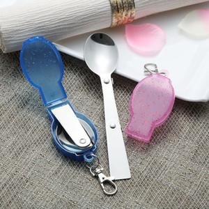 جيب قابلة للطي ملعقة مع حزمة مربع من البلاستيك التخييم السفر Tablewares نزهة في الهواء الطلق المشي لمسافات طويلة ملعقة مريحة