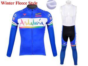2021 Mavi andalucia Sıcak Kış Termal Polar Bisiklet Giyim KB Erkekler Jersey Suit Açık Binme Bisiklet MTB Giyim Önlüğü Pantolon Seti