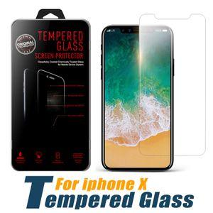Protection d'écran pour iPhone 11 PRO MAX XS Max XR XS pour Samsung en verre trempé A20 A50 A10E Moto G7 Puissance Moto E6 Z4 LG 5 K40 dans Stylo Box