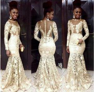 Robes de soirée de style sud-africain en dentelle de champagne pure encolure dégagée manches longues robes de sirène de bal pour femme, plus la taille des robes de soirée