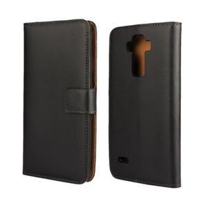 Toptan Yüksek Kalite Siyah Hakiki Deri Cüzdan Kılıf Kapak Için LG G4 Stylus / G Stylo Standı Stil ve Kart Sahibinin ile Telefon Çantası