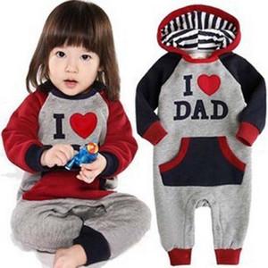 Novo estilo bonito eu amo mam paizinho bebê crianças meninas meninos crianças jumpsuit outfits conjunto de playsuit