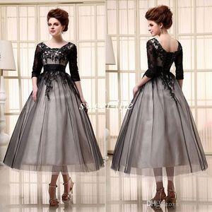 2019 черные коктейльные платья чай длина половина рукава дешево в наличии тюль совок зашнуровать аппликация-Line женщины вечерние платья ну вечеринку платье выпускного вечера