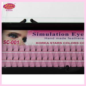 2015 Maquiagem cílios falsos 0.10mm C Onda de seda chicote de olho extensões Individuais Lashes Preto natural único cílios postiços 8/10 / 12mm