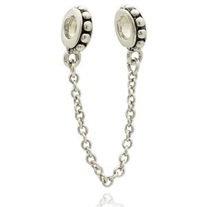 Antike Silberfarbe Rhodium Plating Blume Europäische Sicherheitskettenglied Perle Spacer Charm Fit Pandora Armband
