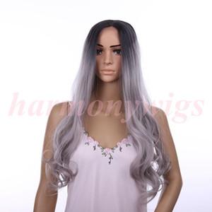 Pelucas delanteras sintéticas del cordón 18inch ombre chocolate Negro color gris onda grande Rizado pelucas resistentes al calor mujeres calientes del pelo venta
