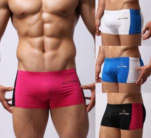 Men's Swim Boxer Trunks Shorts Swimwear Swimsuit Black Blue White Hot-Pink S M L
