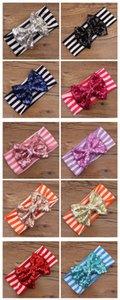 Fedex Navio Livre 2016 Novas meninas arco headbands bebê lantejoulas bowknot headband meninas algodão listrado headbands bebê Handmade headbands 200 pçs / lote