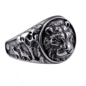 Lion King Mens 361L Acero inoxidable Biker Rocker Gothic Vintage Negro Anillo Tamaño 7-13