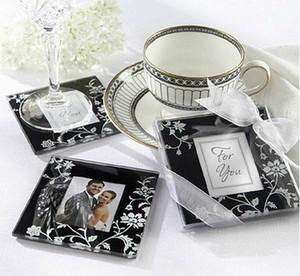 Venta al por mayor Lotes 20 unids Square Photo Frame Glass Coaster esteras de la taza almohadillas + caja de regalo favores de la boda de la cinta regalo de boda del bebé ducha