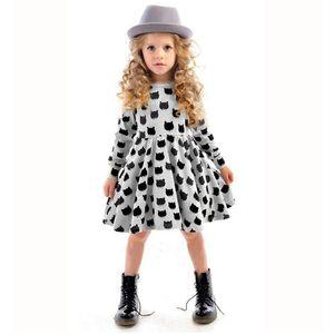 Inverno outono primavera menina dress animal print crianças roupas 2016 moda manga longa de algodão meninas roupas casuais crianças clothing