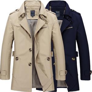 شحن مجاني الذكور نقية اللون القطن الخالص جاكيتات طويلة أزياء الرجال الراقي الشتاء يتأهل عارضة خندق معطف