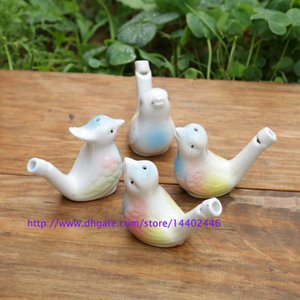 200pcs water bird whistle clay Birds ceramic china Glazed whistle-peacock Warbler Novelty whistles Sound Kids Toy