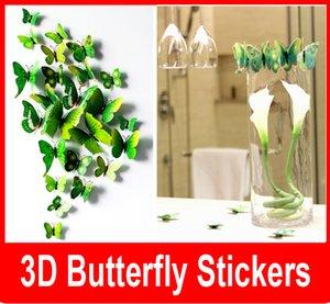 Yeni Külkedisi kelebek 3d kelebek dekorasyon duvar çıkartmaları 12 adet 3d kelebekler 3d kelebek pvc çıkarılabilir duvar çıkartmaları kel ...