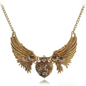 Trendy Vintage Style Carved Strass Herz Engel Flügel Choker Bib Halsketten Kette Kragen Kleid Frauen Halskette Schmuck
