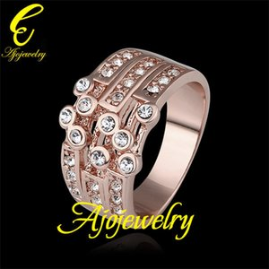 010 Size 8 New 18K Rose Gold Plated Free Shipping Weddings & Events Bijouterie Chunky Rings For Women