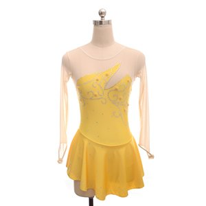 Professional Design Yellow Skating Dress On Ice New Fashion Wholesale Price Dress Children's Beaded Competition Dress