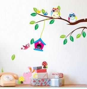 Dessin animé sage hiboux arbre oiseaux oiseaux lapin animaux stickers muraux pour chambre d \ 'enfants décoration chambre pépinière enfants stickers muraux arts fleurs