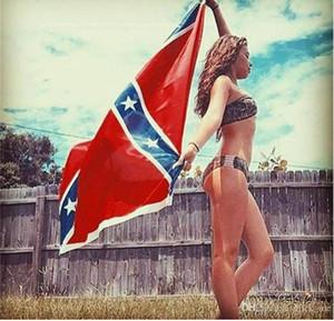 90x150 cm Dois Lados Impresso Bandeira Para Confederado Rebelde Guerra Nacional Nacional EUA Poliéster Bandeiras 5X3ft