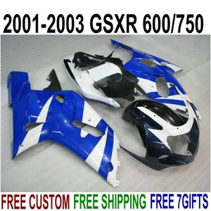 Calda carrozzeria per SUZUKI GSXR600 GSXR750 carene 2001-2003 K1 01 02 03 GSX-R 600 750 carena blu bianco kit SK50