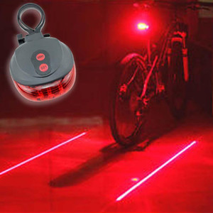5LED 2Laser Bicicleta bicicleta luz 7 Modo de flash Ciclismo Seguridad Luz trasera Láser a prueba de agua Lámpara de advertencia intermitente 5 led 2 láser