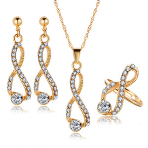 Новый прибыл свадебный ужин премиум комплект ювелирных изделий роскошный Кристалл алмазы 8 форма серьги кольцо ожерелье для женщин